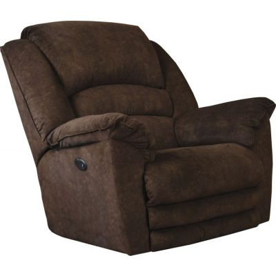 Power Lay Flat Recliner with Extended Ottoman in Chocolate - 647757162829