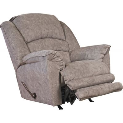 Rialto Chaise Rocker Recliner with Extended Ottoman in Steel - 47752162838