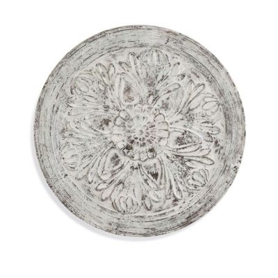 Medallion Wooden Wall Hanging in Weathered White - 7300-177EC
