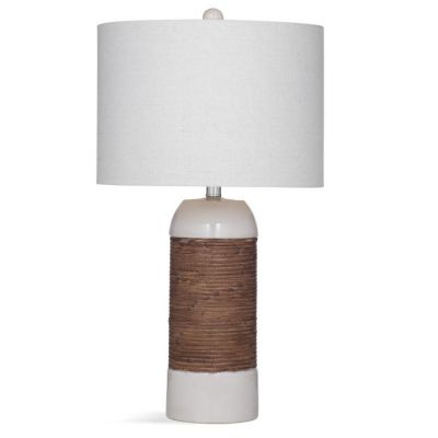 Reyner Table Lamp in White & Rattan - L3326TEC