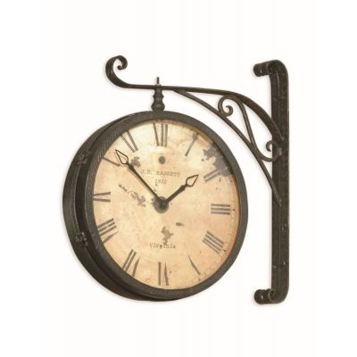 Victorian RR Clock  in Black w & Copper Rub - M2271EC