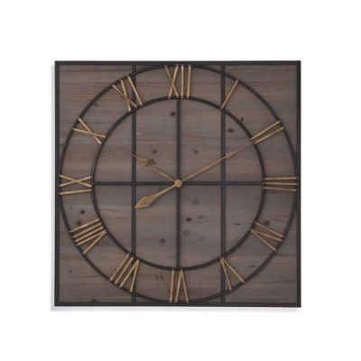 Eldridge Wall Clock in Bronze & Natural Wood - MC4019EC
