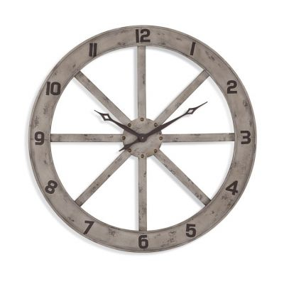 Farmhouse Wall Clock in Distressed White - MC4022EC