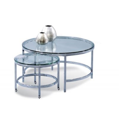 Patinoire Round Cocktail on Casters in Polished Chrome - T1792-120CEC