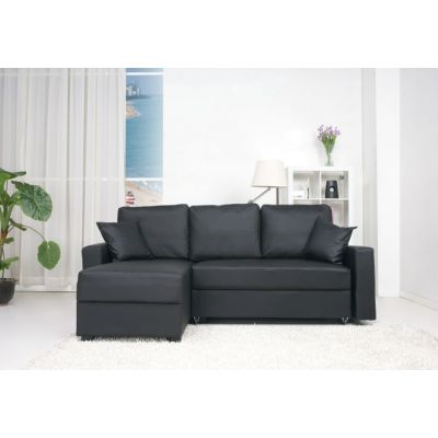 Aspen Convertible Sectional Storage Sofa Bed in Black - ADC-ASP-SEC-PUX-BLK