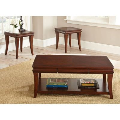 Aubrey 3 Piece Coffee Table Set in Cherry