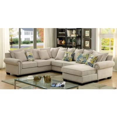 Nylah Fabric Padded Chaise Sectional in Ivory - IDF-6156-SEC