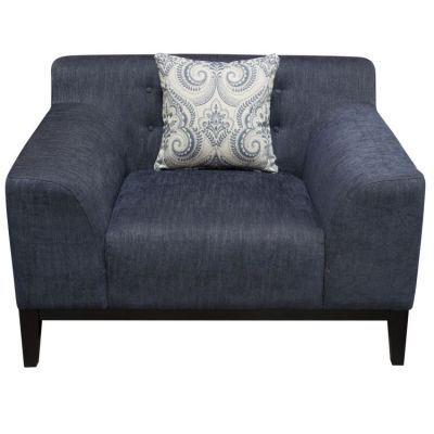 Marquee Tufted Back Aaron's Chair in Panama Blue Fabric - MARQUEECHBU