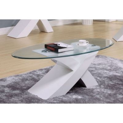 Pervis White Coffee Table with Glass Top - 000546_kit