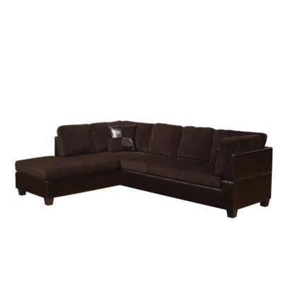 Connell Chocolate PU Sectional Sofa with Left Chaise - 000454_kit
