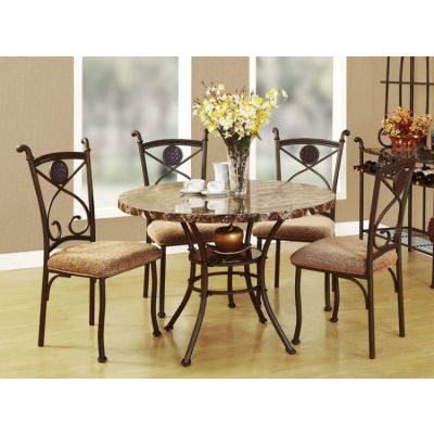 Kleef 5 piece Brown Faux Marble Round Stoneberry Dining Set - 000506_kit