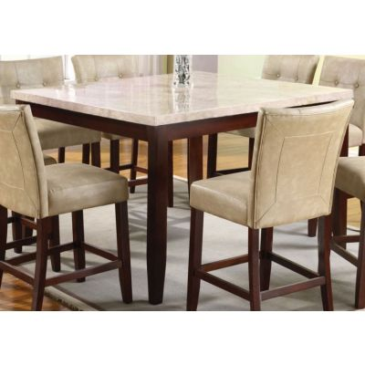 Britney Counter Height Table in White Marble & Walnut - 17059