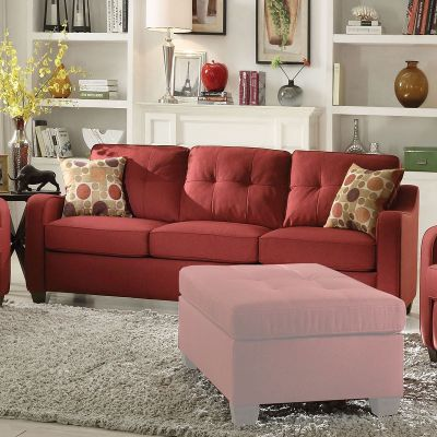 Cleavon II Sofa with 2 Pillows with Red Linen Finish - 53560