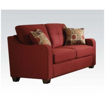 Cleavon II Loveseat with 2 Pillows with Red Linen Finish - 53561