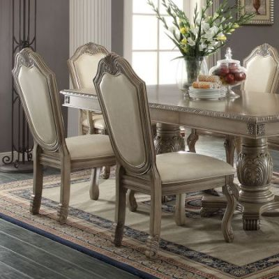 Chateau de Ville Side Chair in PU & White - 64067