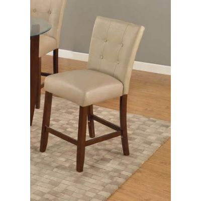 Britney Counter Height Chair in Cream PU & Walnut - 67055