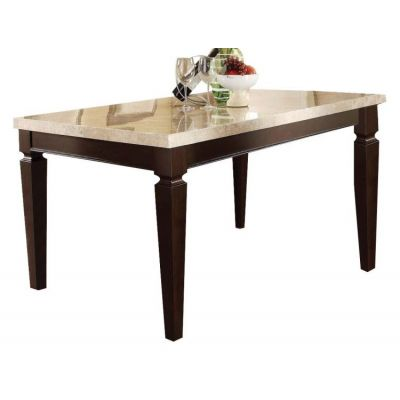 Agatha Table in White Marble and Espresso Finish - 70480