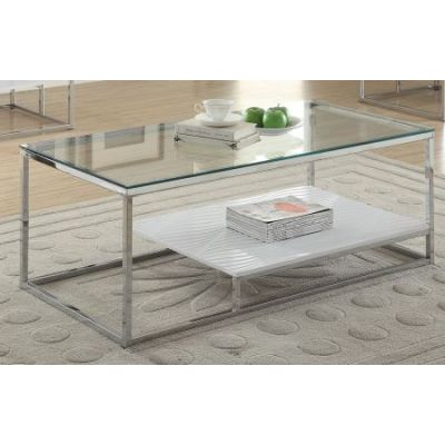 Ruben Coffee Table in Chrome & Clear Glass - 80430
