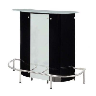 Black Bar Table with Frosted Glass Top - 100654