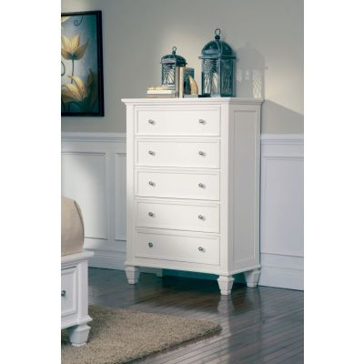 Sandy Beach White 5 Drawers Chest - 201305