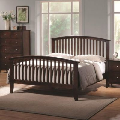 Tia Queen Bed in Warm Cappuccino Finish - 202081Q