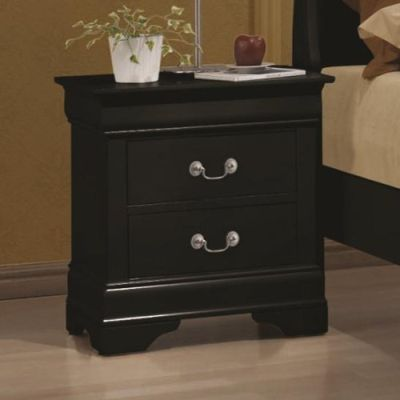 Louis Philippe Two Drawer Nightstand in Black - 203962