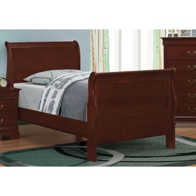 Louis Philippe Twin Sleigh Panel Bed in Cherry Finish - 203971T