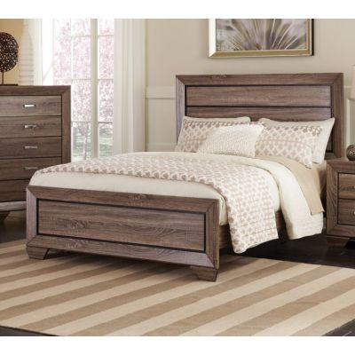 Kauffman Queen Panel Bed in Washed Taupe - 204191Q