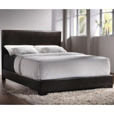 Queen Faux Leather Upholstered Platform Bed in Dark Brown - 300261Q
