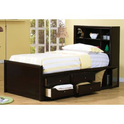 Phoenix Twin Bed in Cappuccino - 400180T