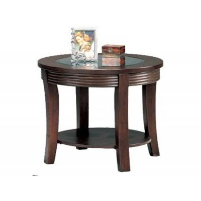 Simpson Round End Table with Glass Top - 5524