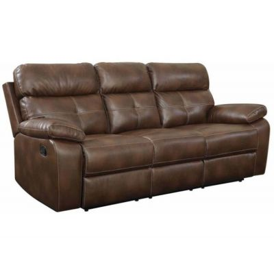 Damiano Casual Brown Faux Leather Reclining Sofa - 601691