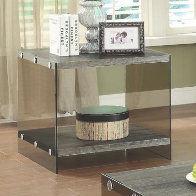 Wood and Glass End Table in Grey - 701967