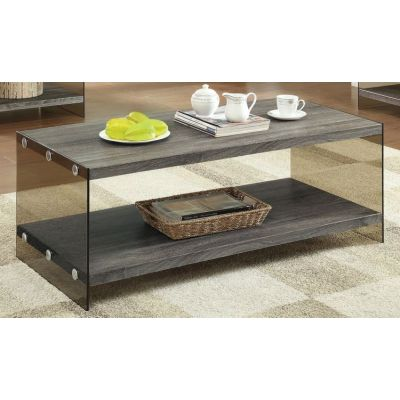 Wood and Glass Coffee Table in Grey - 701968
