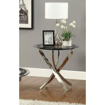Metal and Glass End Table in Chrome - 702587