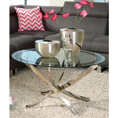 Metal and Glass Coffee Table in Chrome - 702588