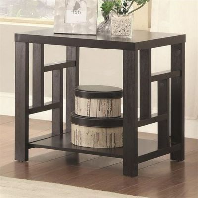 1 Shelf Window Pane End Table in Cappuccino - 703537