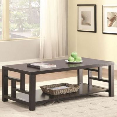 1 Shelf Window Pane Coffee Table in Cappuccino - 703538