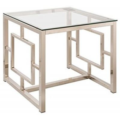 Satin Plated Metal Glass Top End Table - 703737