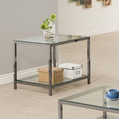 Black Nickel End Table with Shelf - 720227