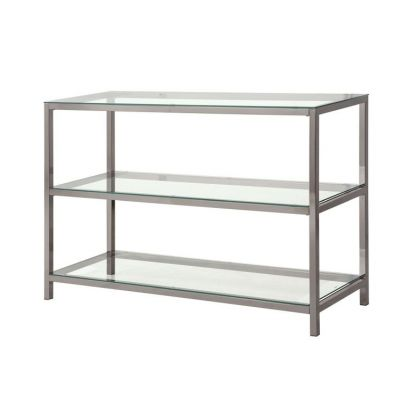 Metal and Glass Sofa Table in Black Nickel - 720229