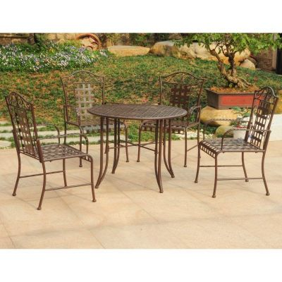 Mandalay Set of 5 Outdoor Dining Group in Rustic Brown - 3454-RT-BN