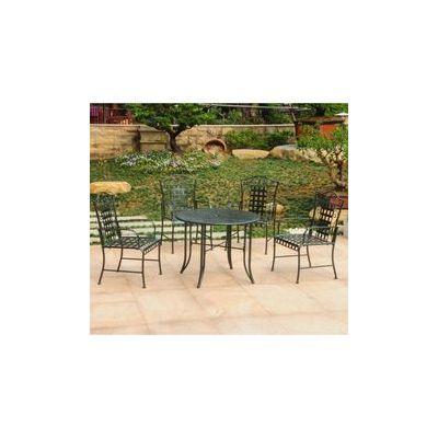Mandalay Set of 5 Outdoor Dining Group in Verdi Green - 3454-VG