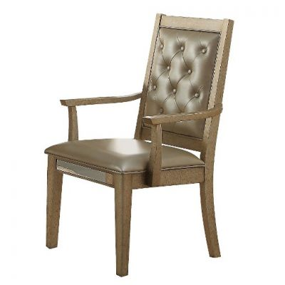 Voeville Arm Chair in Matte Gold PU - 61003