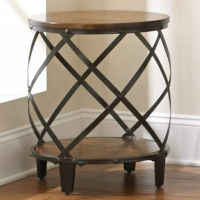 Winston Round End Table in Distressed Tobacco - WN450E