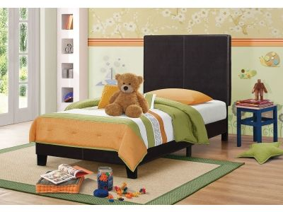 Upholstered Low-Profile Twin Bed in Black Finish