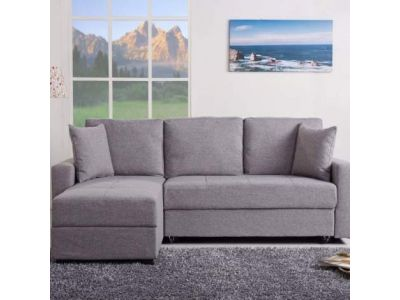 Aspen Convertible Sectional Storage Sofa Bed in Ash