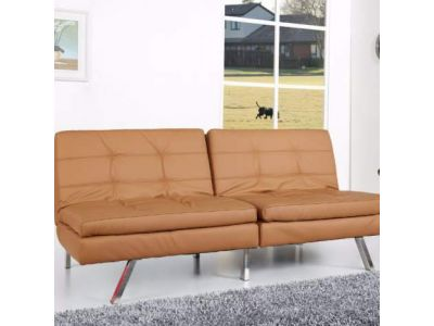 Memphis Double Cushion Futon Sofa Bed in Camel