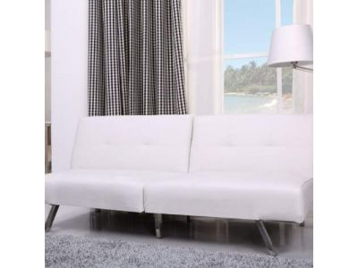Victorville Foldable Futon Sofa Bed in White