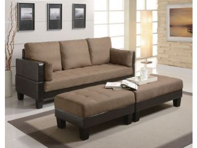Tan Futon Sofa Bed Set